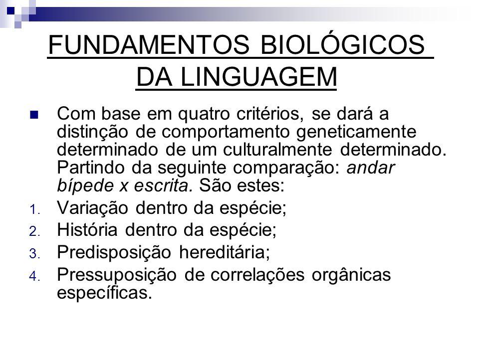 FUNDAMENTOS BIOLÓGICOS DA LINGUAGEM