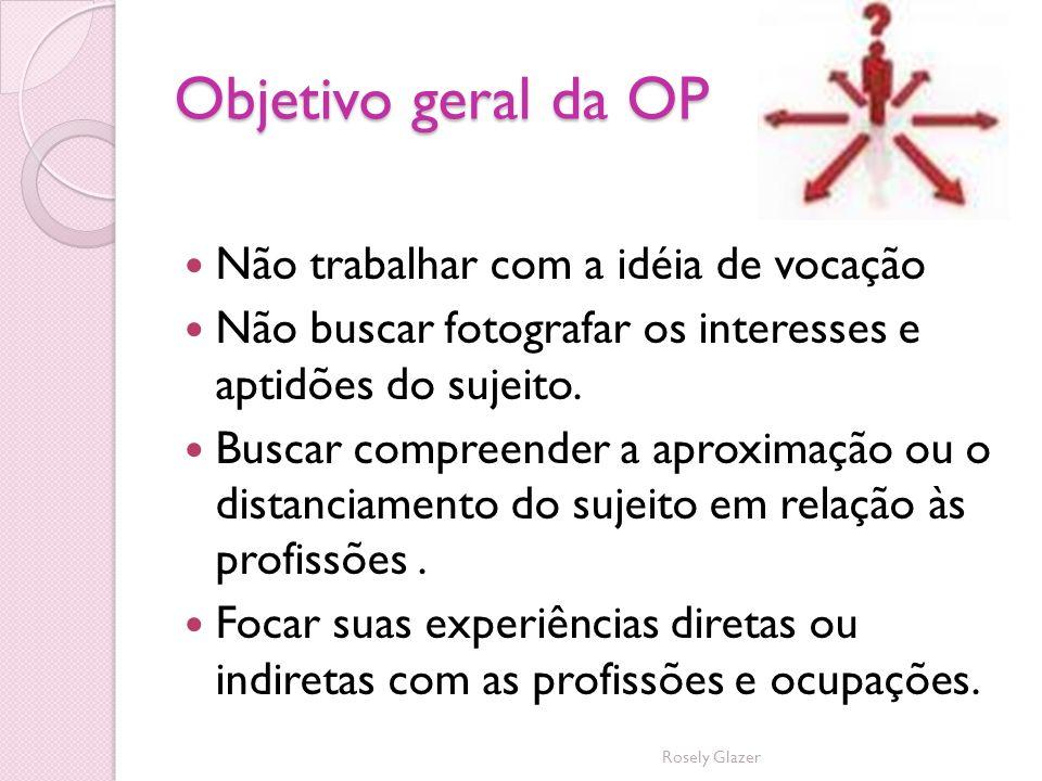 Objetivo geral da OP Não trabalhar com a idéia de vocação