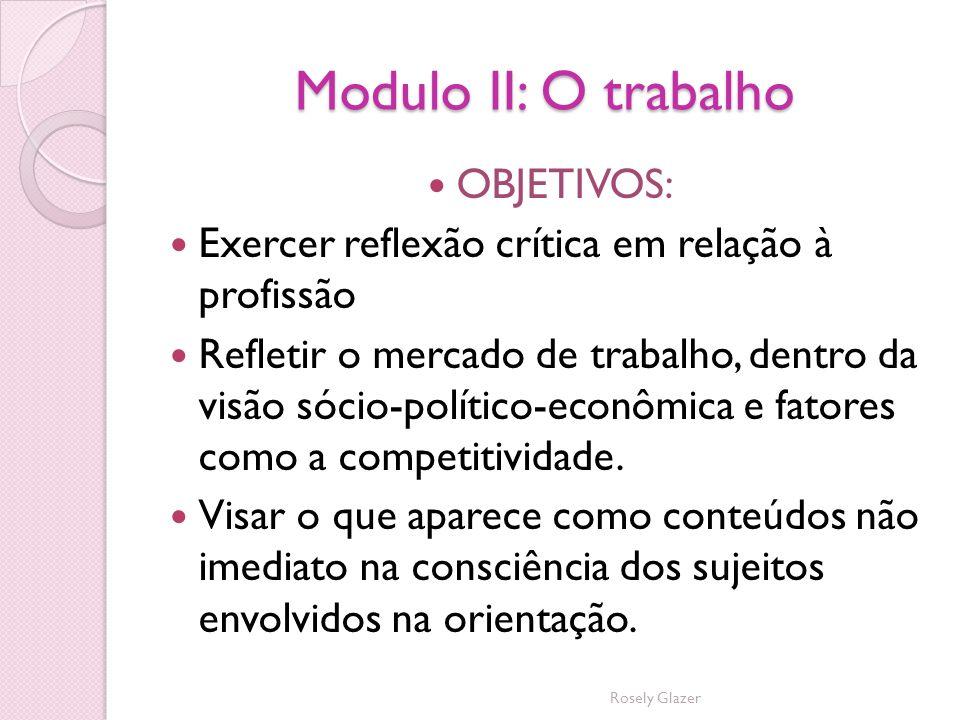 Modulo II: O trabalho OBJETIVOS: