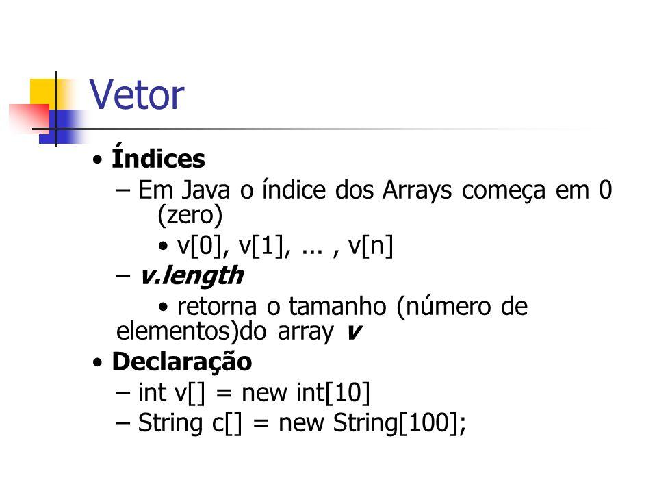 Vetor • Índices – Em Java o índice dos Arrays começa em 0 (zero)
