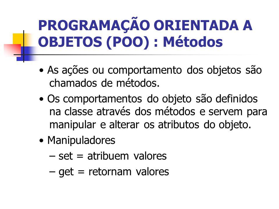 PROGRAMAÇÃO ORIENTADA A OBJETOS (POO) : Métodos