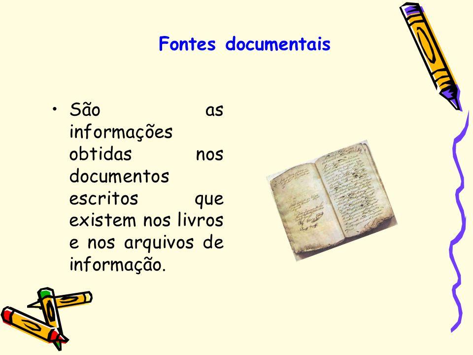 Fontes documentais São as informações obtidas nos documentos escritos que existem nos livros e nos arquivos de informação.