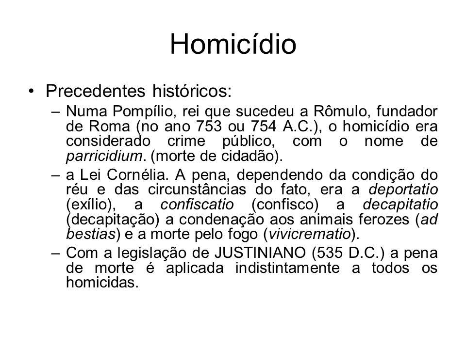 Homicídio Precedentes históricos: