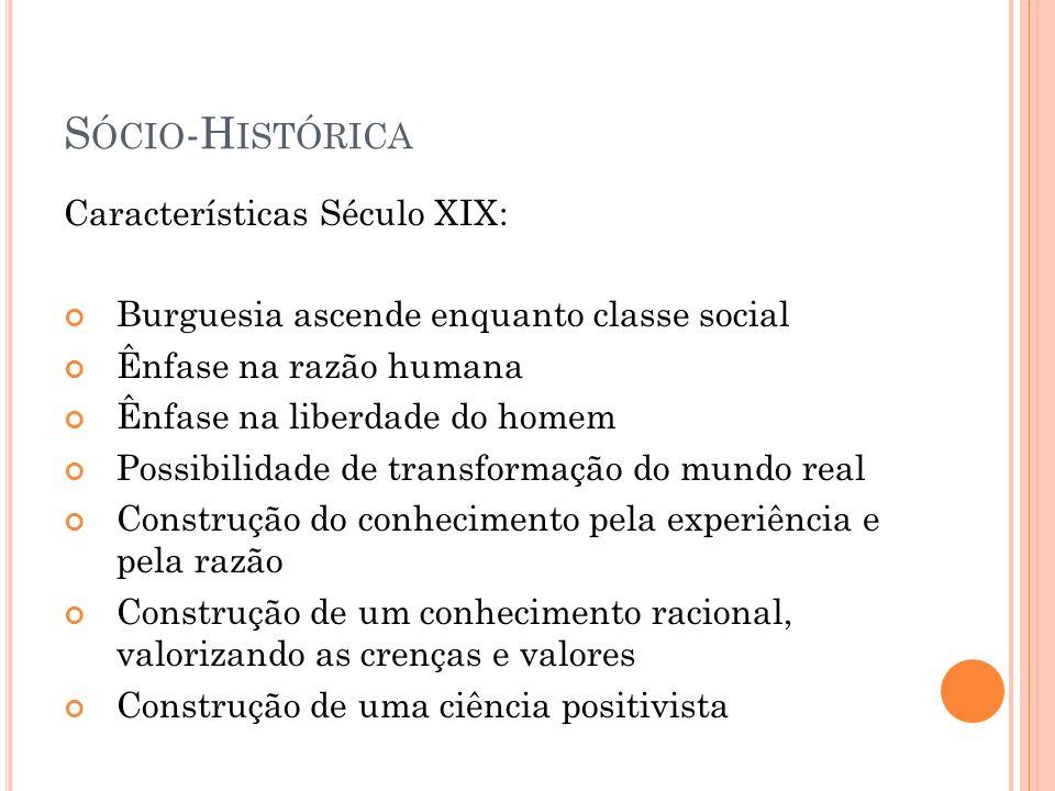 Sócio-Histórica Características Século XIX: