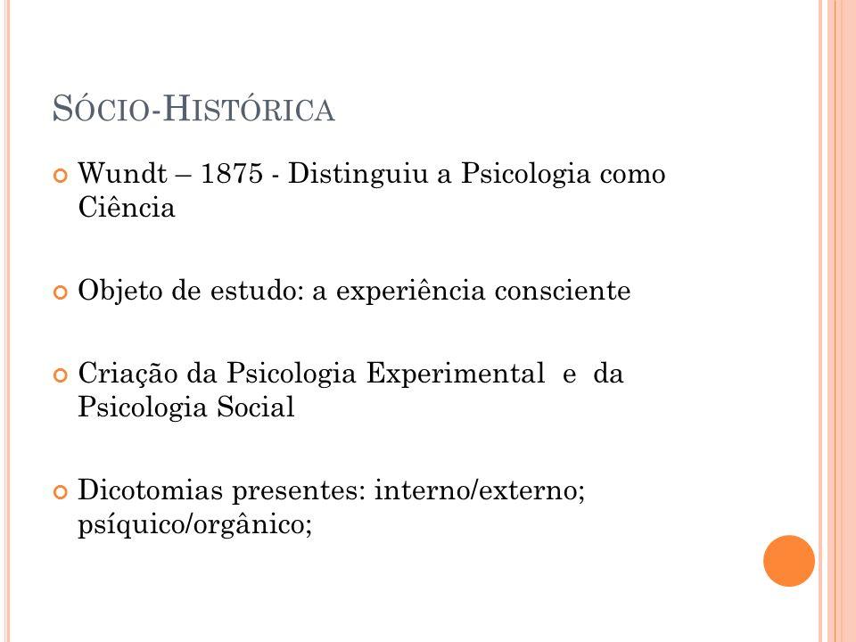 Sócio-Histórica Wundt – 1875 - Distinguiu a Psicologia como Ciência