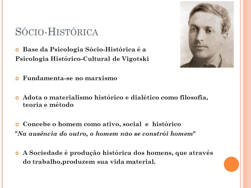 Sócio-Histórica Base da Psicologia Sócio-Histórica é a