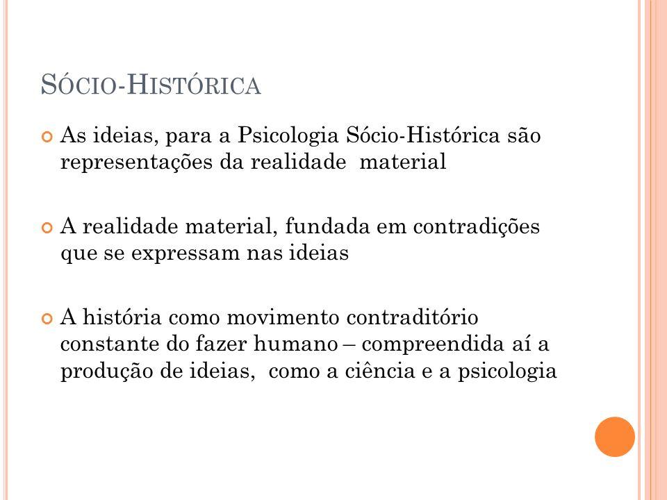 Sócio-Histórica As ideias, para a Psicologia Sócio-Histórica são representações da realidade material.