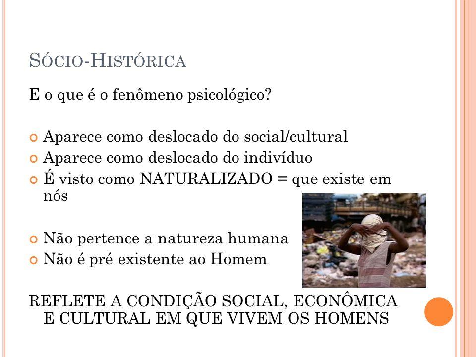 Sócio-Histórica E o que é o fenômeno psicológico