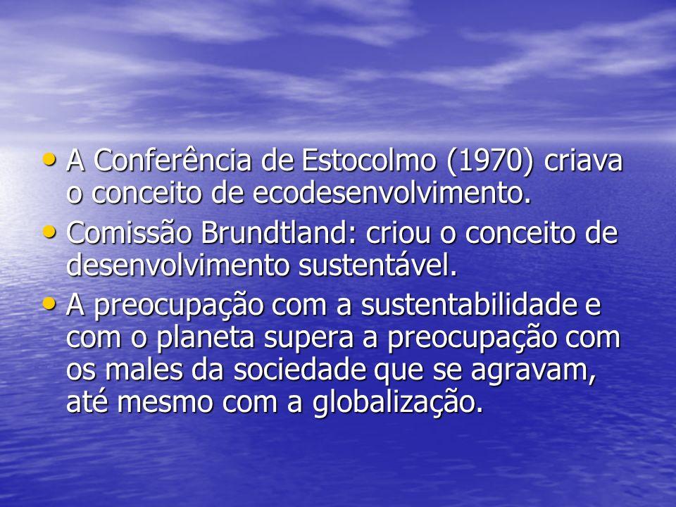 A Conferência de Estocolmo (1970) criava o conceito de ecodesenvolvimento.