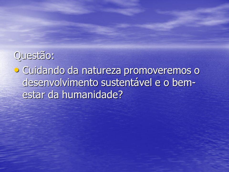 Questão: Cuidando da natureza promoveremos o desenvolvimento sustentável e o bem-estar da humanidade