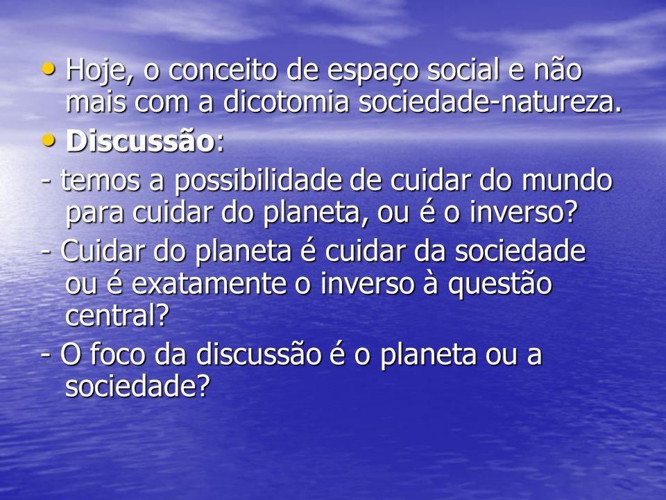 Hoje, o conceito de espaço social e não mais com a dicotomia sociedade-natureza.