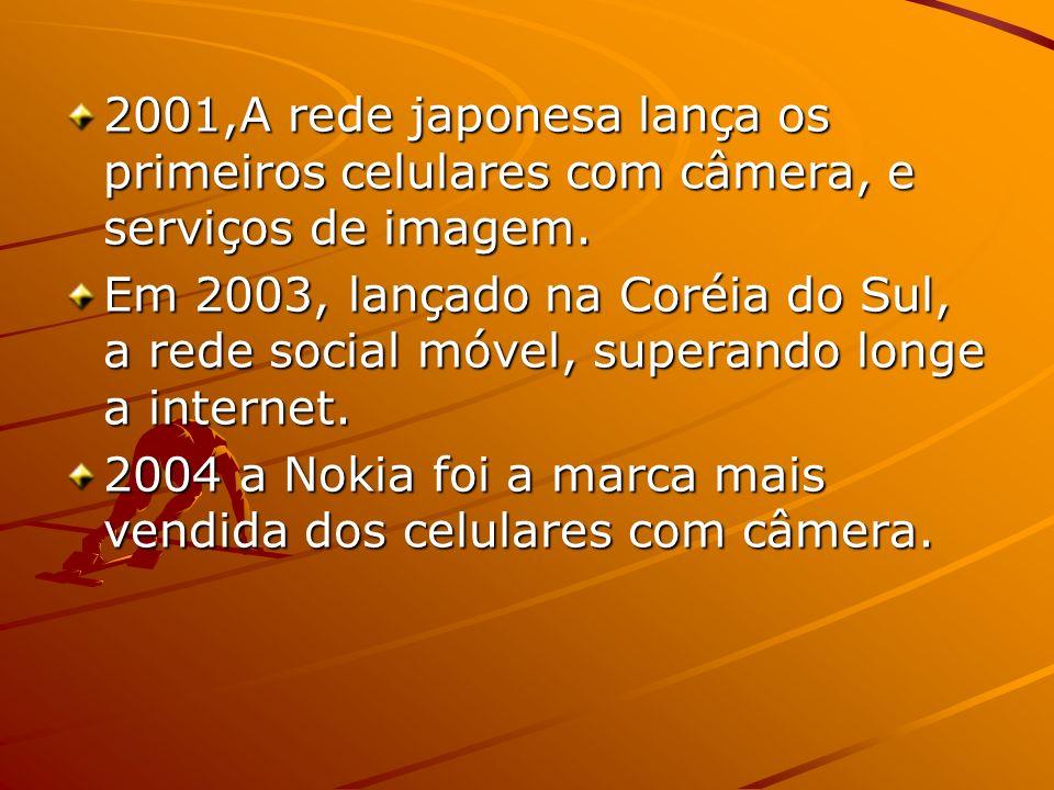2001,A rede japonesa lança os primeiros celulares com câmera, e serviços de imagem.