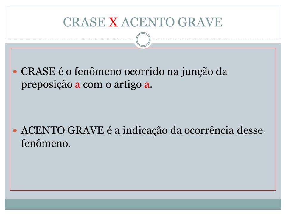 CRASE X ACENTO GRAVE CRASE é o fenômeno ocorrido na junção da preposição a com o artigo a.