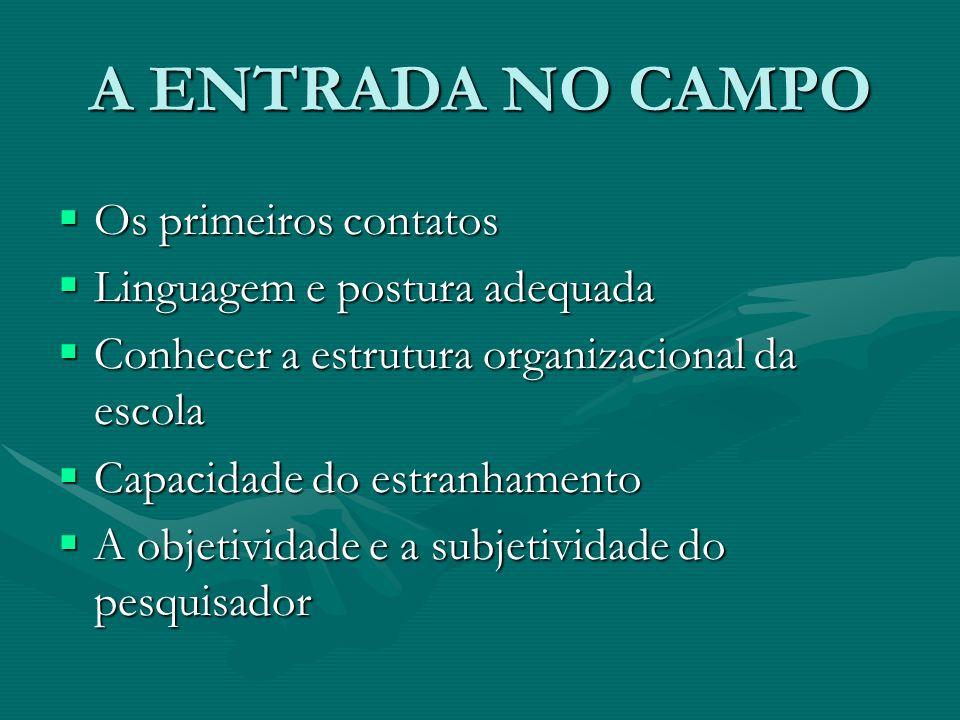 A ENTRADA NO CAMPO Os primeiros contatos Linguagem e postura adequada