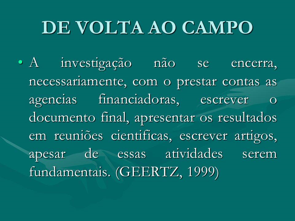 DE VOLTA AO CAMPO