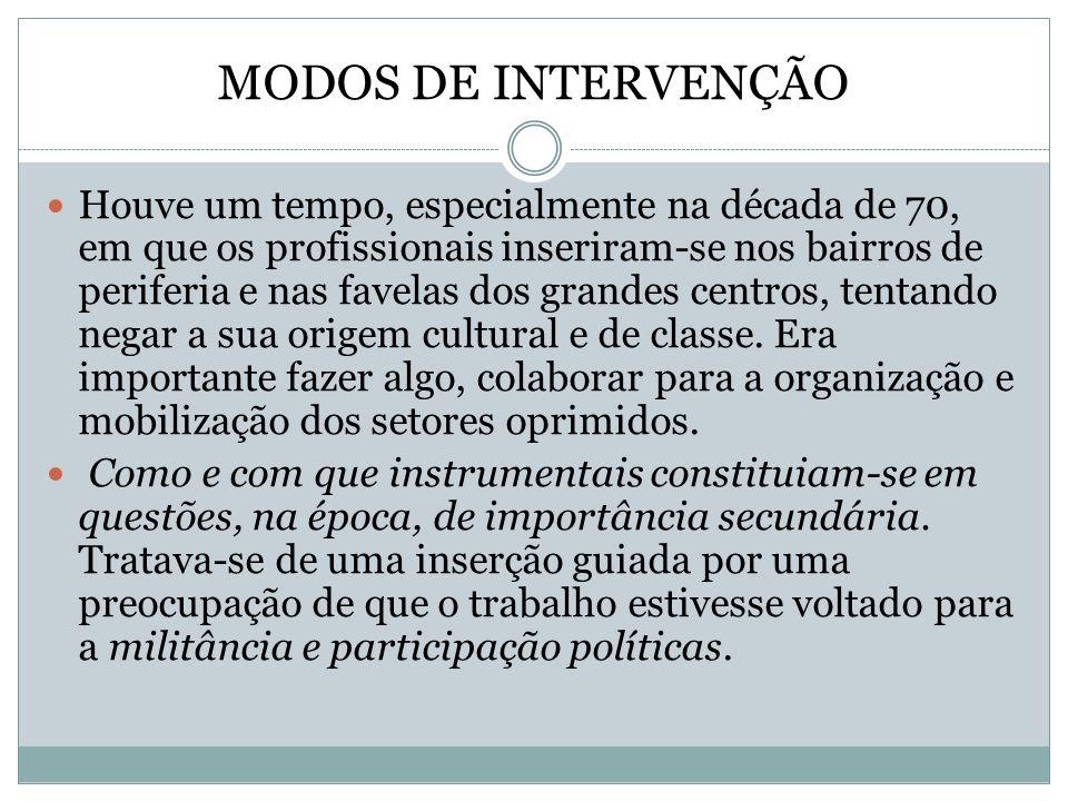 MODOS DE INTERVENÇÃO