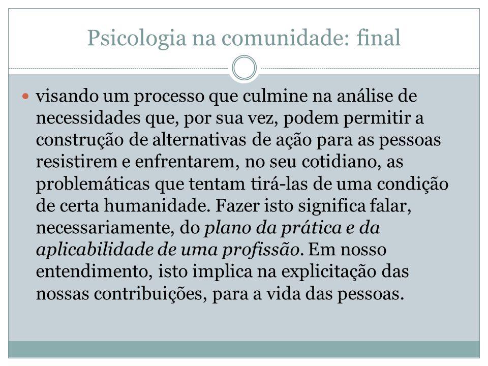 Psicologia na comunidade: final