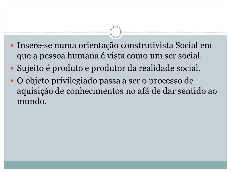 Insere-se numa orientação construtivista Social em que a pessoa humana é vista como um ser social.