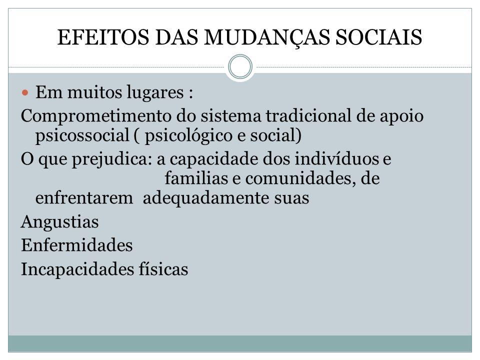 EFEITOS DAS MUDANÇAS SOCIAIS