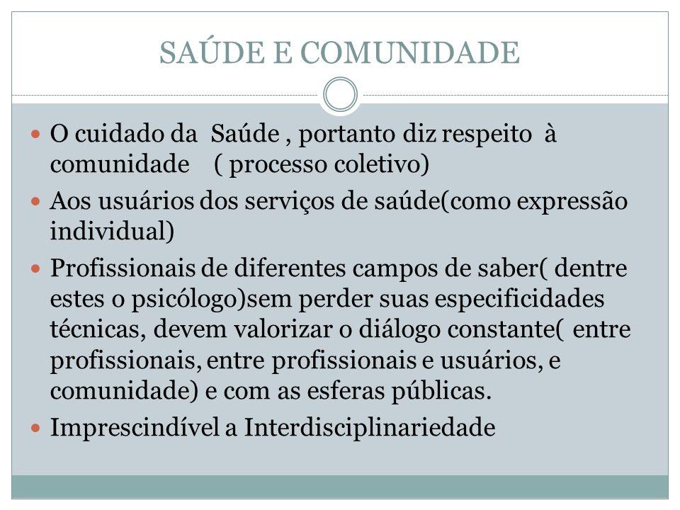 SAÚDE E COMUNIDADE O cuidado da Saúde , portanto diz respeito à comunidade ( processo coletivo)