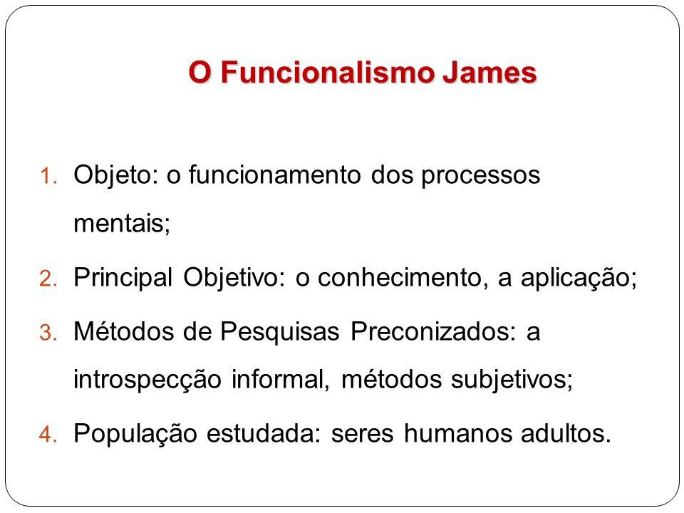 O Funcionalismo James Objeto: o funcionamento dos processos mentais;