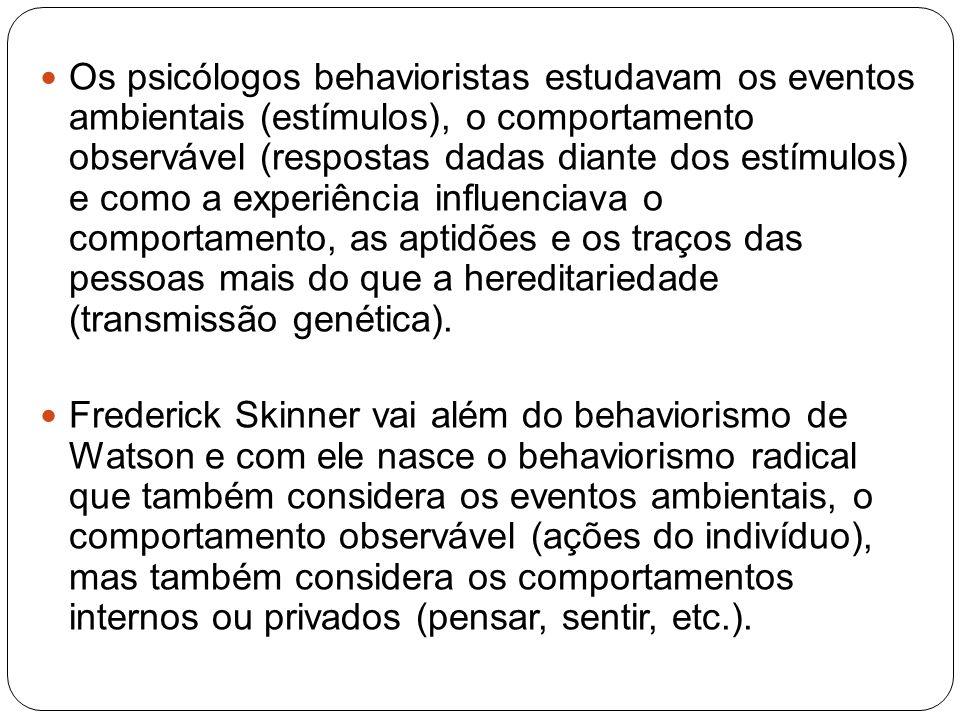 Os psicólogos behavioristas estudavam os eventos ambientais (estímulos), o comportamento observável (respostas dadas diante dos estímulos) e como a experiência influenciava o comportamento, as aptidões e os traços das pessoas mais do que a hereditariedade (transmissão genética).