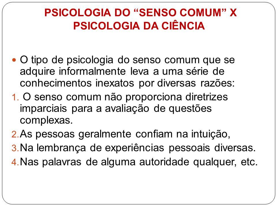 PSICOLOGIA DO SENSO COMUM X PSICOLOGIA DA CIÊNCIA