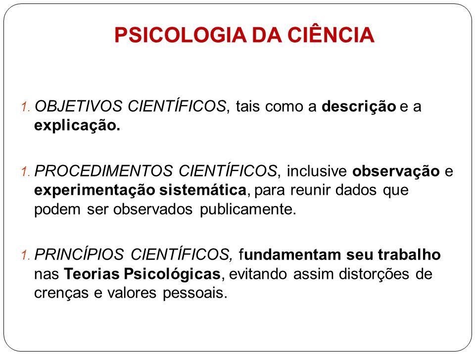 PSICOLOGIA DA CIÊNCIA OBJETIVOS CIENTÍFICOS, tais como a descrição e a explicação.