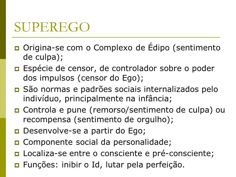 SUPEREGO Origina-se com o Complexo de Édipo (sentimento de culpa);
