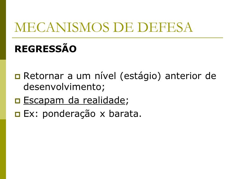 MECANISMOS DE DEFESA REGRESSÃO