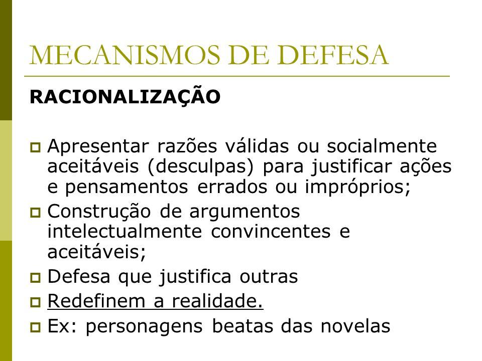 MECANISMOS DE DEFESA RACIONALIZAÇÃO