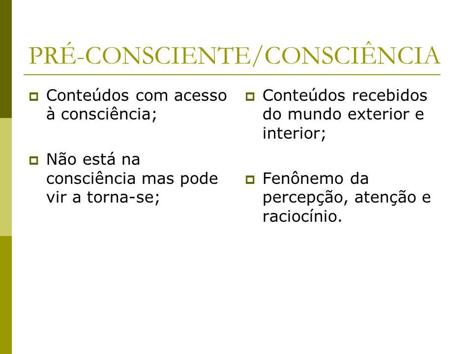 PRÉ-CONSCIENTE/CONSCIÊNCIA