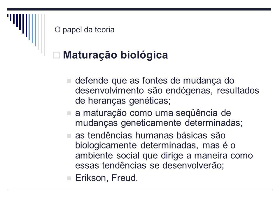 O papel da teoria Maturação biológica. defende que as fontes de mudança do desenvolvimento são endógenas, resultados de heranças genéticas;