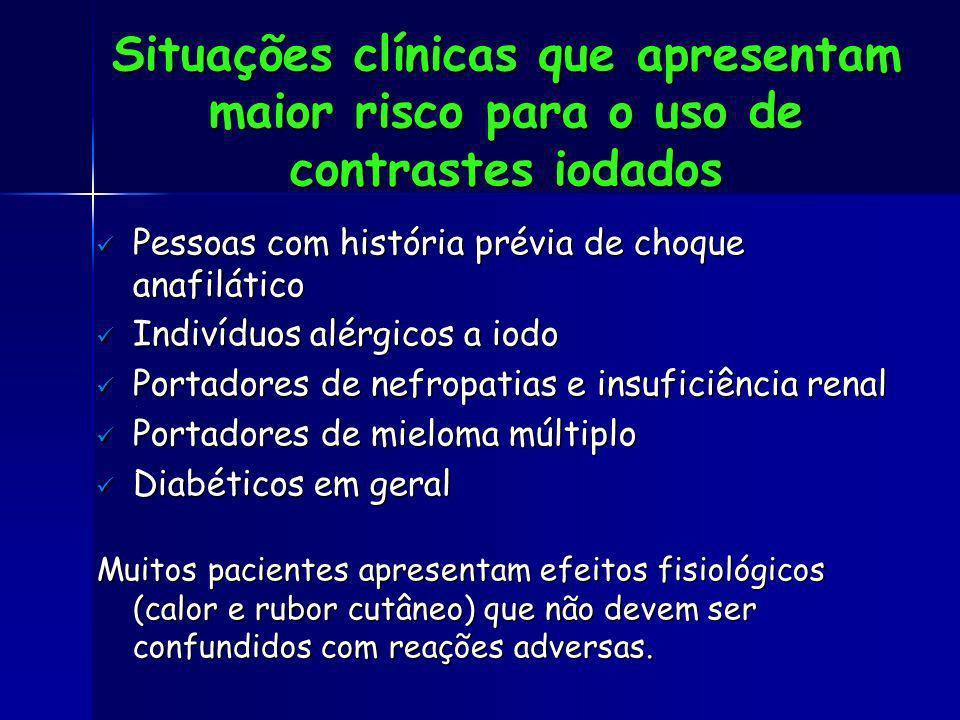 Situações clínicas que apresentam maior risco para o uso de contrastes iodados
