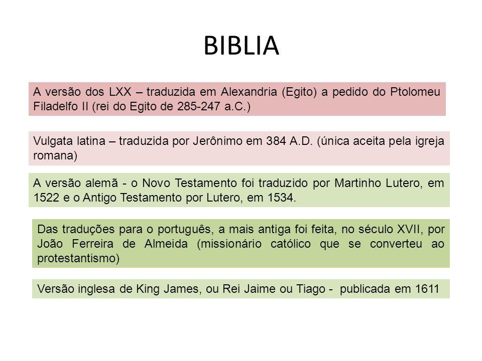 BIBLIA A versão dos LXX – traduzida em Alexandria (Egito) a pedido do Ptolomeu Filadelfo II (rei do Egito de 285-247 a.C.)