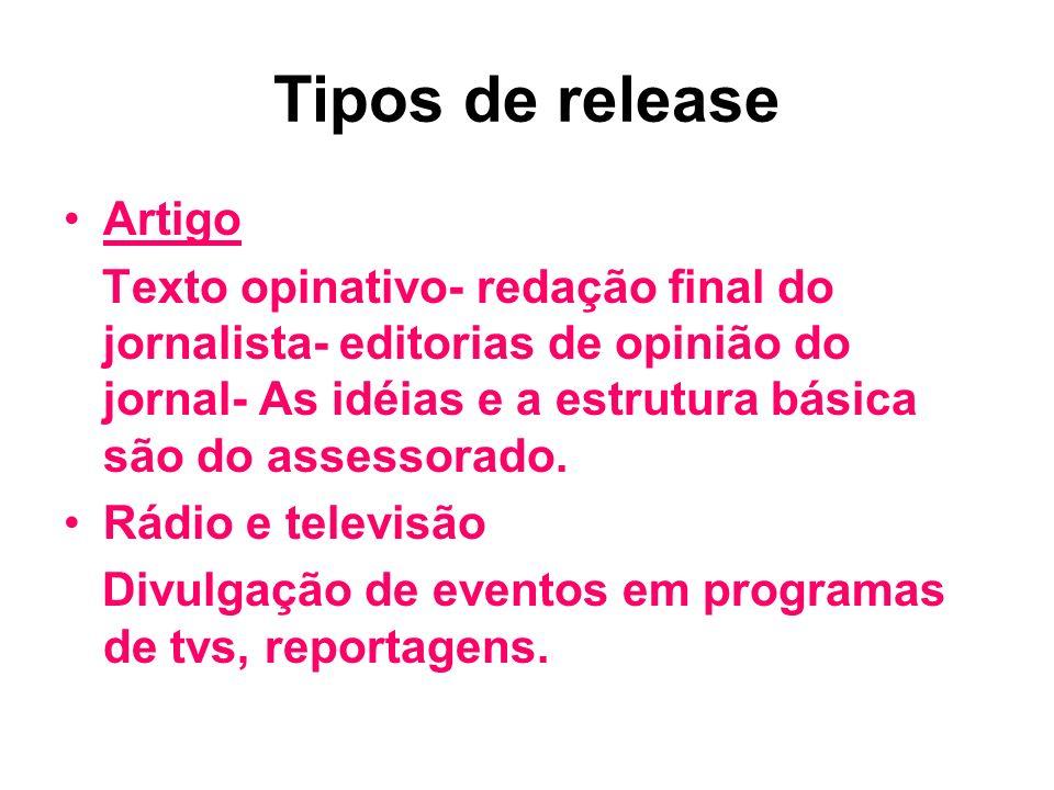 Tipos de release Artigo