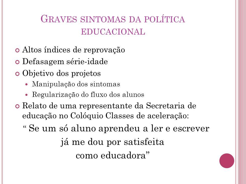 Graves sintomas da política educacional