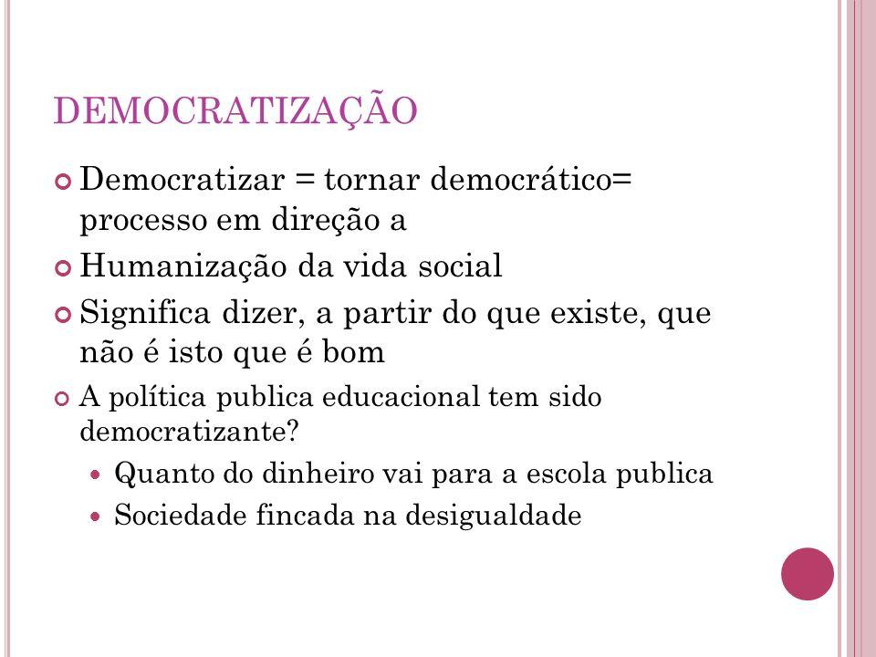DEMOCRATIZAÇÃODemocratizar = tornar democrático= processo em direção a. Humanização da vida social.