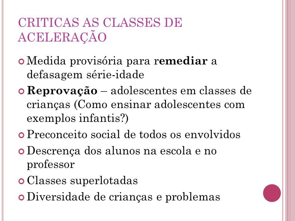 CRITICAS AS CLASSES DE ACELERAÇÃO