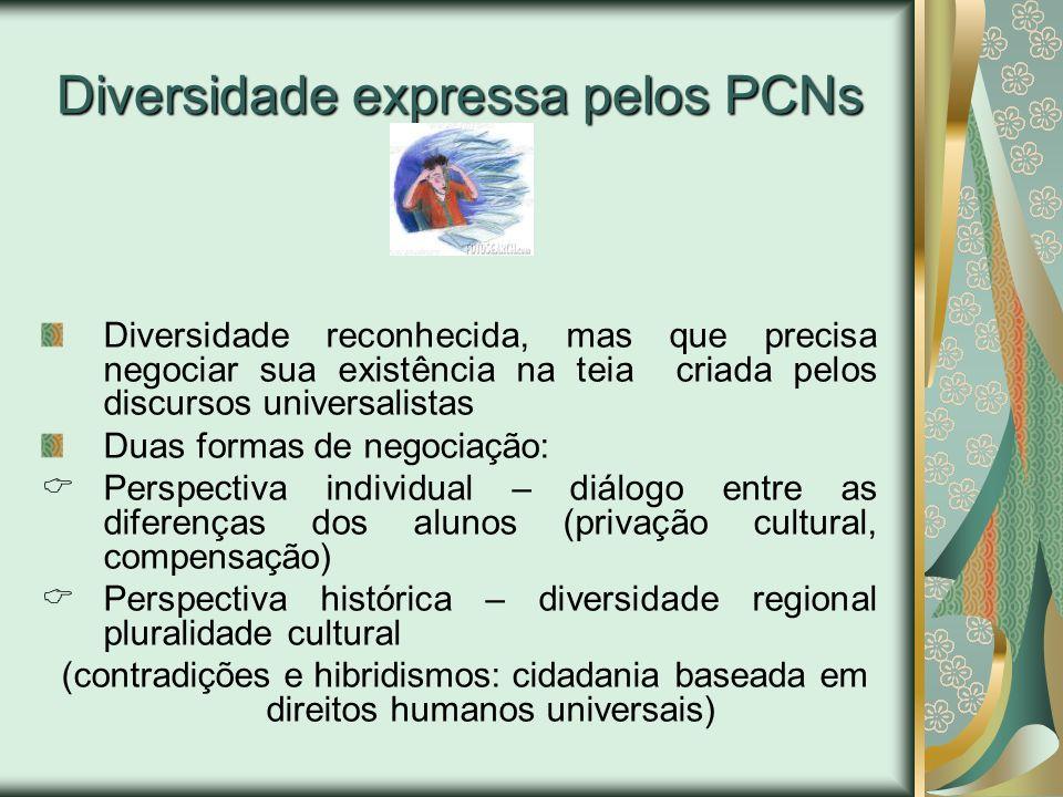 Diversidade expressa pelos PCNs