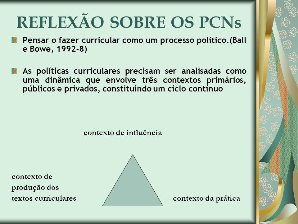 REFLEXÃO SOBRE OS PCNs Pensar o fazer curricular como um processo político.(Ball e Bowe, 1992-8)