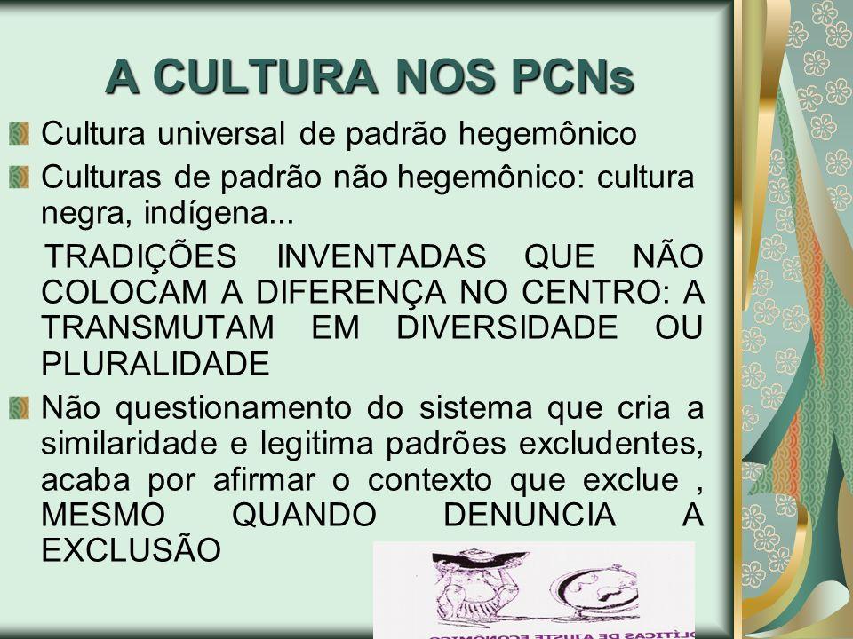 A CULTURA NOS PCNs Cultura universal de padrão hegemônico