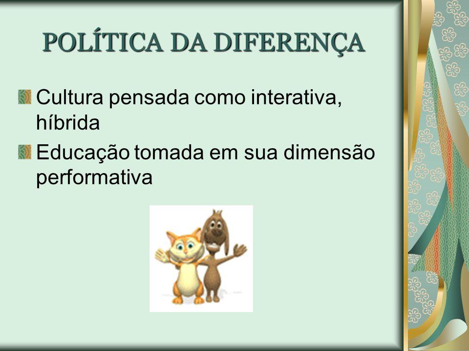 POLÍTICA DA DIFERENÇA Cultura pensada como interativa, híbrida
