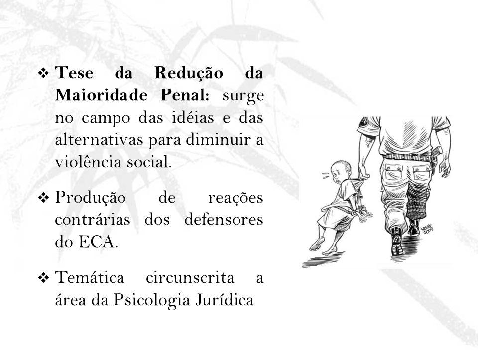 Tese da Redução da Maioridade Penal: surge no campo das idéias e das alternativas para diminuir a violência social.