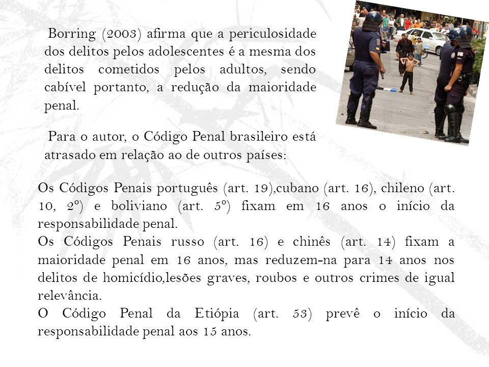 Borring (2003) afirma que a periculosidade dos delitos pelos adolescentes é a mesma dos delitos cometidos pelos adultos, sendo cabível portanto, a redução da maioridade penal. Para o autor, o Código Penal brasileiro está atrasado em relação ao de outros países: