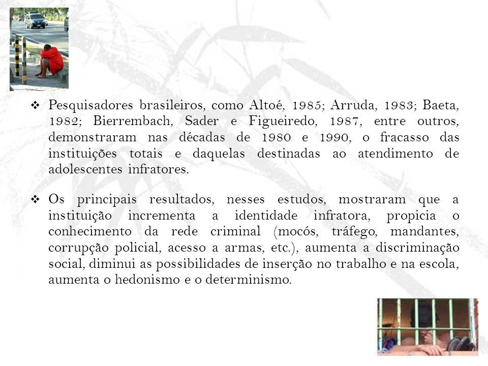 Pesquisadores brasileiros, como Altoé, 1985; Arruda, 1983; Baeta, 1982; Bierrembach, Sader e Figueiredo, 1987, entre outros, demonstraram nas décadas de 1980 e 1990, o fracasso das instituições totais e daquelas destinadas ao atendimento de adolescentes infratores.