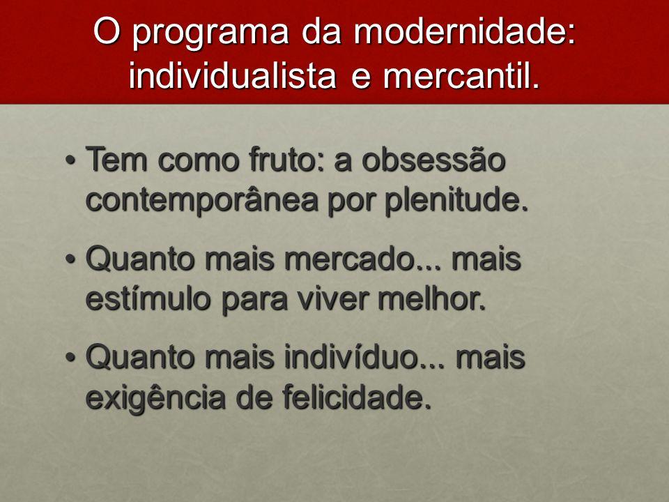 O programa da modernidade: individualista e mercantil.