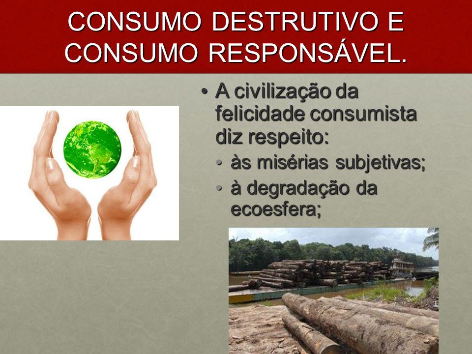CONSUMO DESTRUTIVO E CONSUMO RESPONSÁVEL.