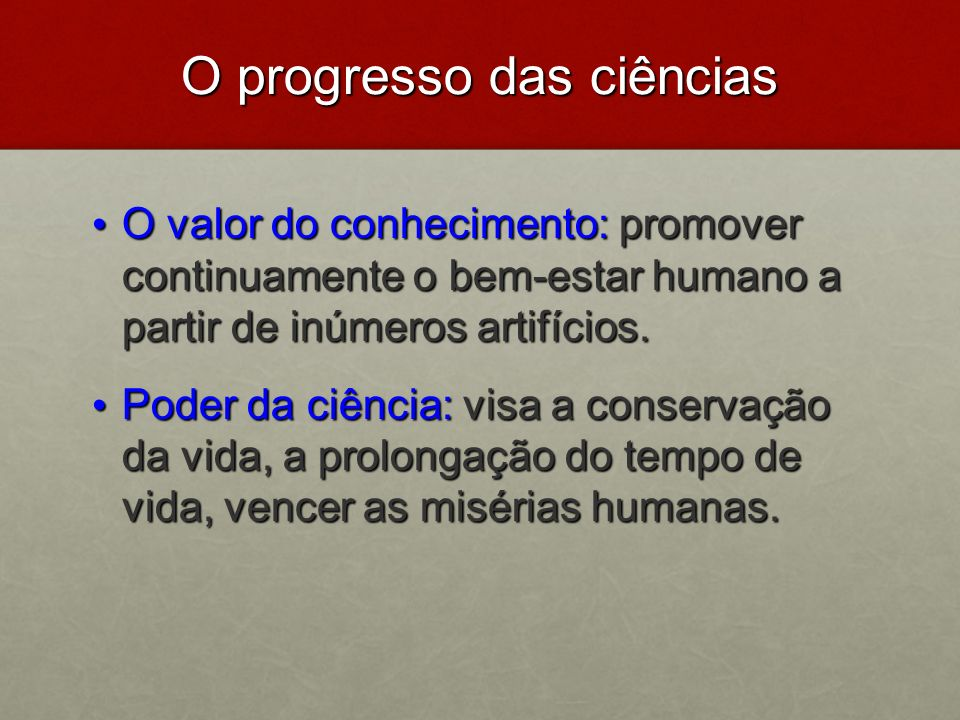 O progresso das ciências