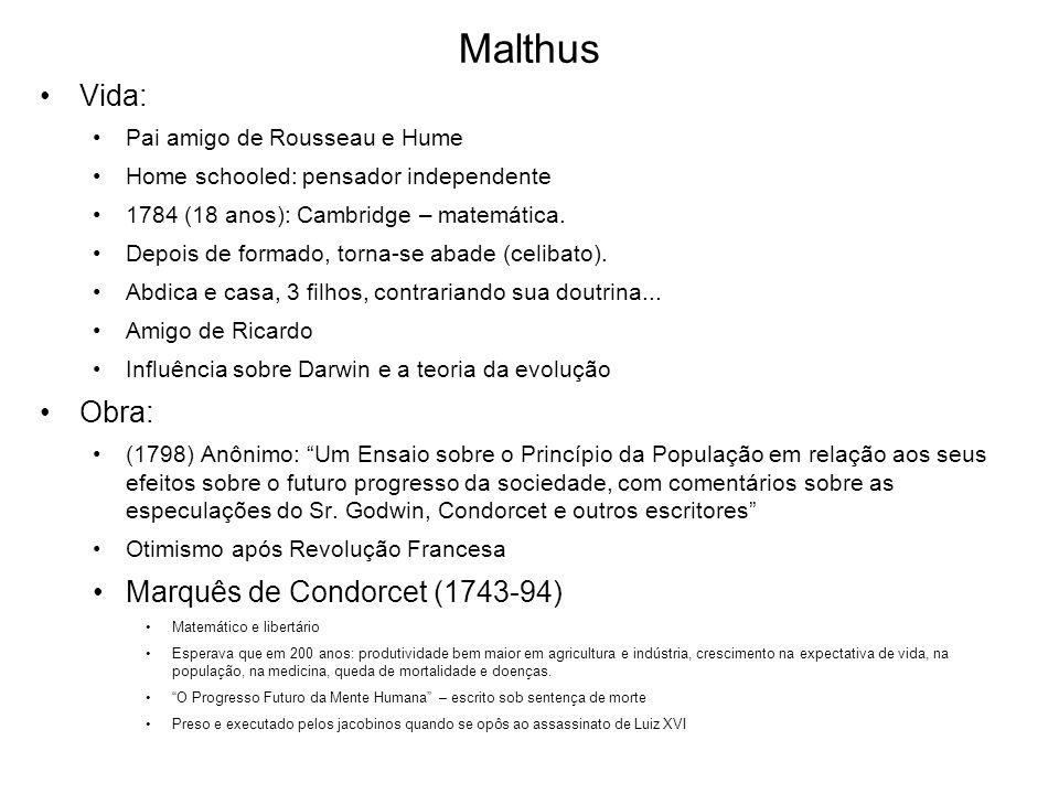Malthus Vida: Obra: Marquês de Condorcet (1743-94)